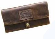 Feinschnitt Tasche Leder Havana mit langem Rollbrett 16x8cm