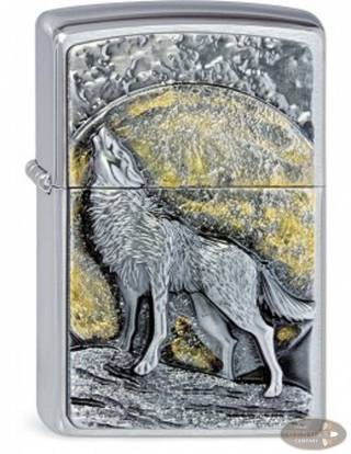 Zippo chrom gebürstet Wolf at Moonlight Emblem