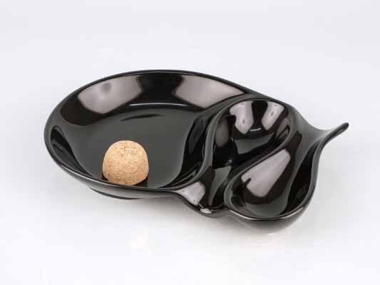 Pfeifenascher Keramik schwarz glänzend oval 2 Ablagen