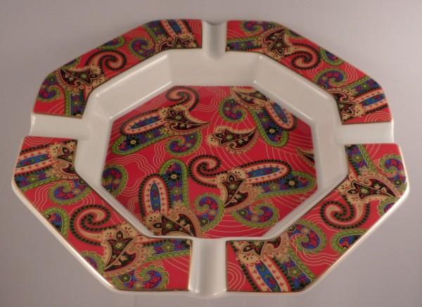 Porzellanascher Ornamente 8-eckig 19cm rot/gold