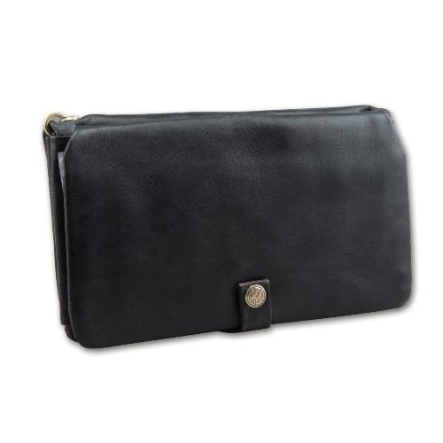 Feinschnitt-Tasche/Geldbörse KAVATZA Leder schwarz Klassik Kette