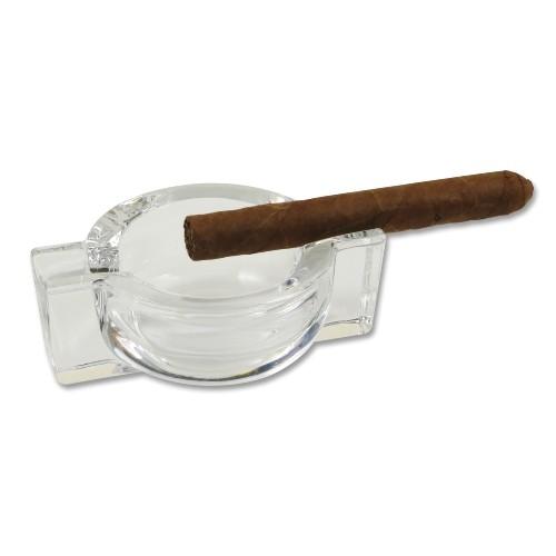 Cigarrenascher Glas mit 2 Ablagen 12.5x9cm