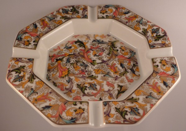 Porzellanascher Ornamente 8-eckig 19cm weiß/gold