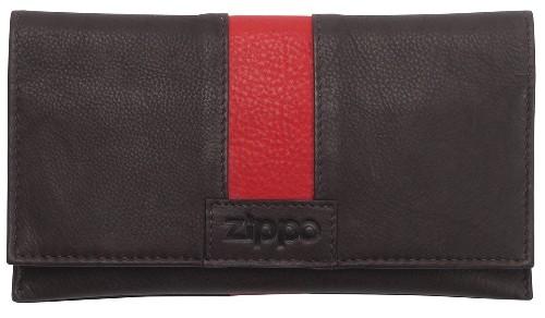 Feinschnitt-Tasche Zippo Leder Mocca und rot
