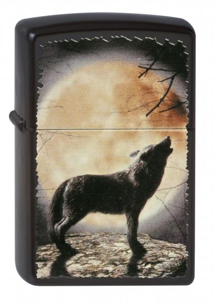 Zippo schwarz matt Wolf Howling to the Moon