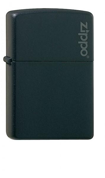 Zippo schwarz matt Logo