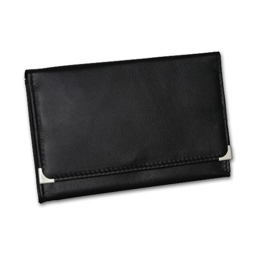 Feinschnitt-Tasche Leder Nappa schwarz mit Metallecken 15 x 9,5cm