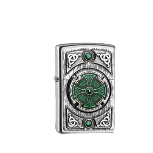 Zippo satiniert Celtic green Cross
