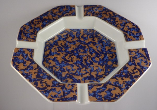 PorzellanascherOrnamente 8-eckig 19cm blau/gold