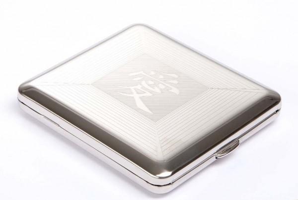Zigaretten-Etui poliert China Emblem Nickel
