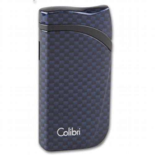 Colibri Cigarrenfeuerzeug Falcon II Carbon blau Schrägflamme
