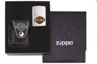 Zippo Harley Davidson Gift Set Ledertasche schwarz