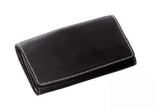 Feinschnitt-Tasche Leder schwarz