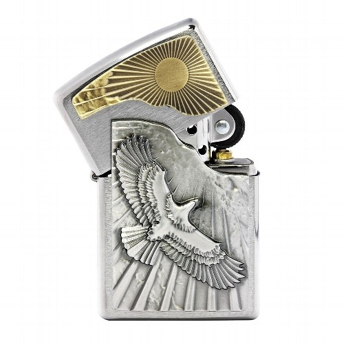 Zippo chrom gebürstet Eagle Sun-Fly Emblem