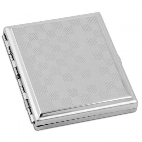 Zigaretten-Etui 18er Metall chrom Quadrate mit Clip