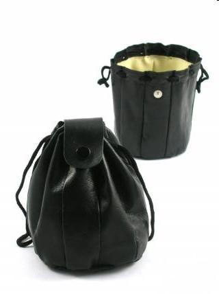 Tabak Zugbeutel Leder schwarz mit Kautschuk Futter